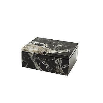 "Spura Home Asteria Collection 5"" Black Zebra Marble Polished Finish Rectangular box"