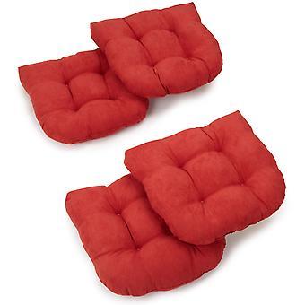 Cojines de silla de comedor con micro ante en forma de U de 19 pulgadas (juego de 4) - Cardinal Red