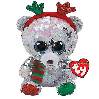 Ty flippables sequin bear with antlers 9 mistletoe