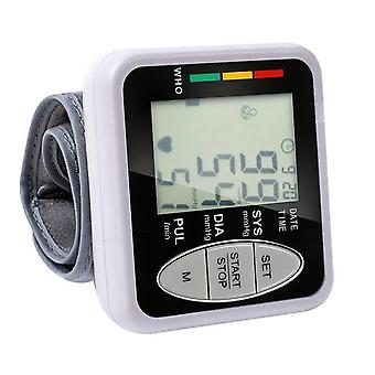 Household wrist tonometer lcd display electronic sphygmomanometer indicator light and data storage blood pressure monitor