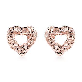Rachel Galley Womens Heart Stud Earrings in Rose Gold Plated Silver