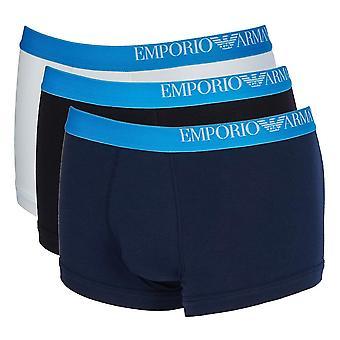 Emporio Armani Side Logo Stretch Cotton 3-Pack Trunk, White / Black / Marine, Small