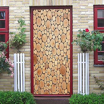 Wood Door Mural Self-adhesive Waterproof Vinyl  Wall Sticker