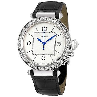 Cartier Pasha Diamond 18kt Vit Guld Herrklocka WJ120251