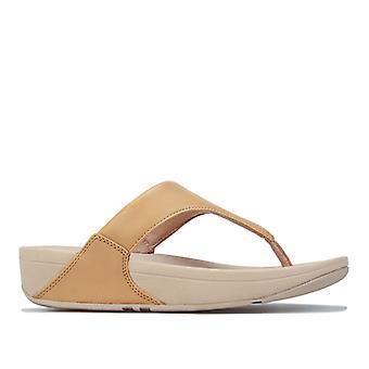 Women's Fit Flop Lulu Leather Toe Thong Flip Flops in Cream