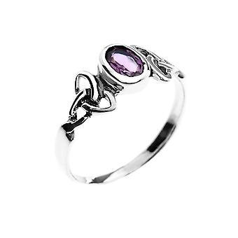 טבעת כסף סטרלינג - השילוש הקלטי + אמיתסט Fac