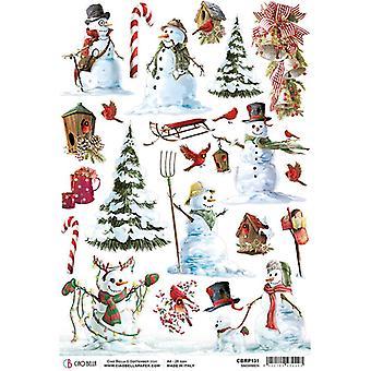 Ciao Bella Piuma Rice Paper A4 - Snowmen