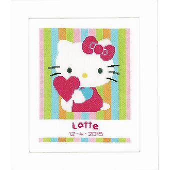 Vervaco Contato Cross Stitch Kit: Hello Kitty a righe
