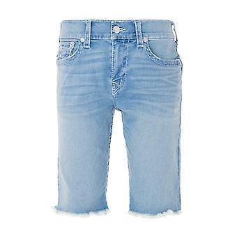 True Religion Ricky Flap Big T Denim Shorts - Cruise Blue