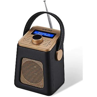 Wokex Mini DAB+ DAB Digitalradio und UKW Radio mit Bluetooth Lautsprecher, Radiowecker und Leder