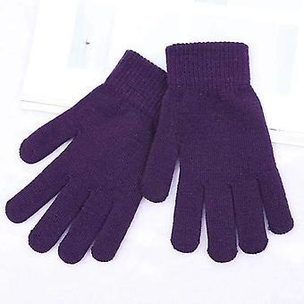 Зимний вязаные перчатки с полным пальцем, женские мужские перчатки