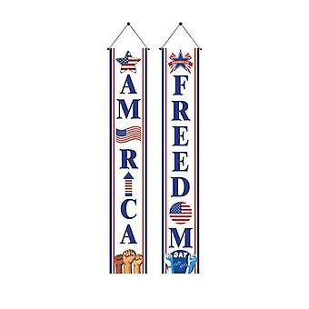 American flag porch sign banners us independence day national day decoration