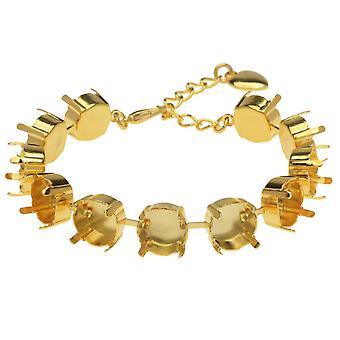 גיטה תכשיטים כמעט עשה צמיד, 11 הגדרות גביע עבור SS47 סברובסקי קריסטל ריבוליס, מצופה זהב