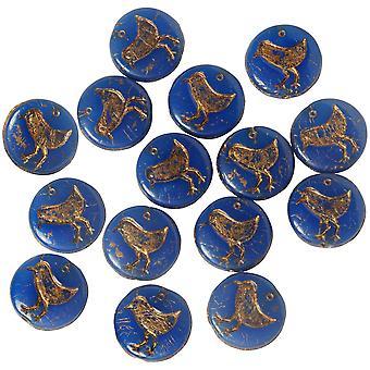Czech Glass Beads, Coin, Bird 12mm, Blue Lapis Opaline, Dark Bronze Wash, 1 Strand, by Raven's Journey
