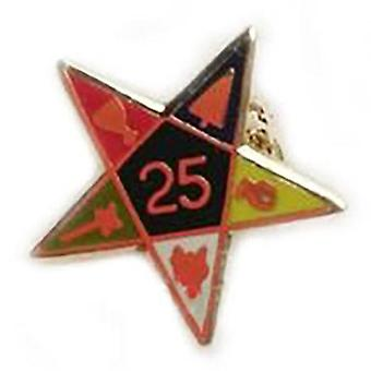 25º año de alfiler de solapa masónica estrella oriental