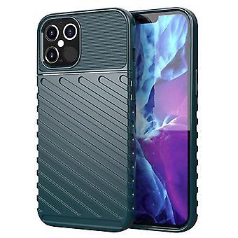Étui en fibre de carbone Tpu pour iphone 12 vert foncé mfkj-2074