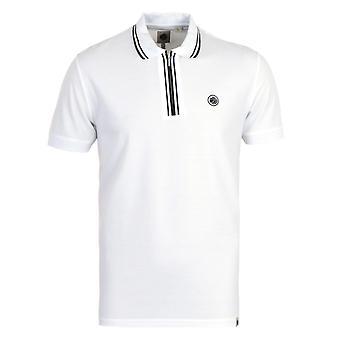 Pretty Green Tierney Zip Mercerised Cotton White Polo Shirt