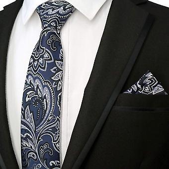 Grey floral pattern designer necktie & pocket square set
