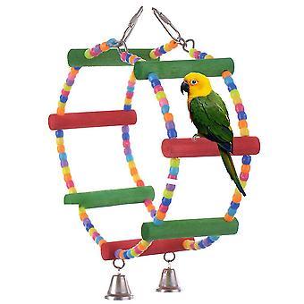 צבעוני ציפור תוכי סולם צעצועי עץ טיפוס צעצוע עם פעמון