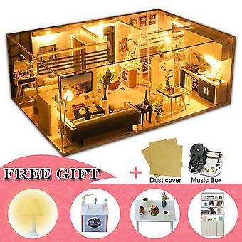 Cutebee diy casa de muñecas de madera casas de muñecas miniatura muebles kit casa música led juguetes para niños regalo de cumpleaños m21