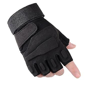 Preto l meio dedo mais luvas de segurança antiderrapante de veludo homi3764