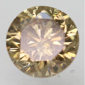 سيرت 0.54 قيراط البني الأصفر SI1 جولة رائعة تعزيز الماس الطبيعي 5.04mm