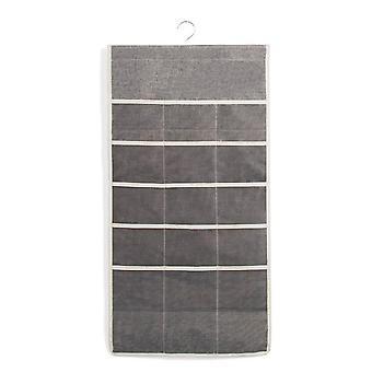 Hanging Bag Cotton Linen Organizer Wardrobe Multilayered Storage Bag Grey