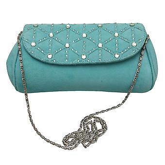 Magrit Aqua Blue Suede Diamante Clutch Bag With Chain Shoulder Strap