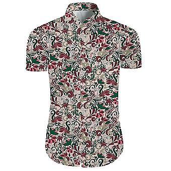 Mens 2 Pieces 3d Floral Print Casual Button Down Short Sleeve Hawaiian Shirt And Shorts Set In Light
