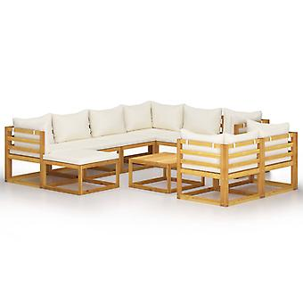 vidaXL 10-tlg. Kit de salon de jardin avec des tirages crème en bois massif acacia