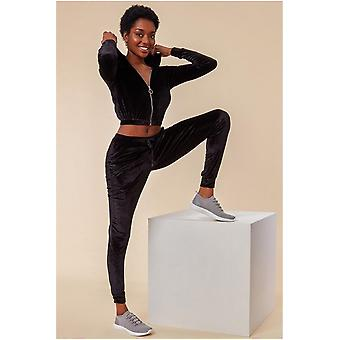 Cosmochic Cuffed Ankle Velour Tracksuit - Black