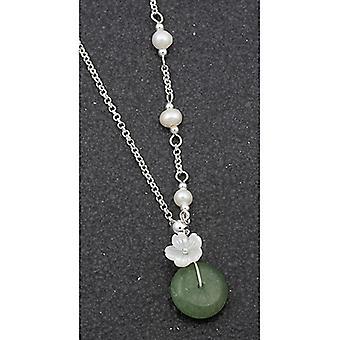 Collana di fiori placcati argento argento giada perla d'acqua dolce