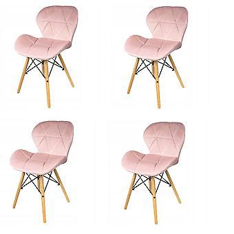 Eetkamer stoelen set van 4 velours lichtroze Scandinavisch design