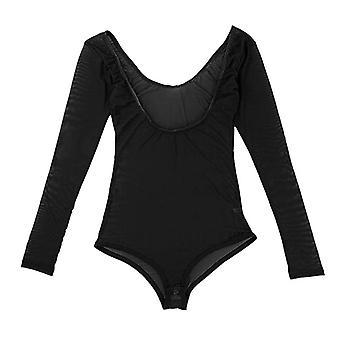 Leotard Mesh Chest Opened Top Long Sleeves Bodysuit Shirt