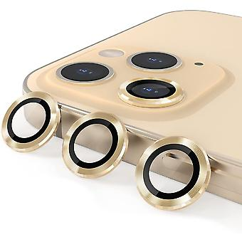 Aluminum Alloy Lens Protective Cover,camera Lens Protective Film Specially Designed For Iphone 11/12mini/12, Tempered Glass Film,  Gold3 Pack