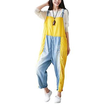 Woman Stitching Ripped Double Color Overalls