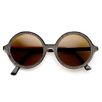 Alta moda Full Metal ornamentado grabado gafas de sol redondas
