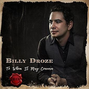 Billy Droze - To Whom It May Concern [CD] USA import