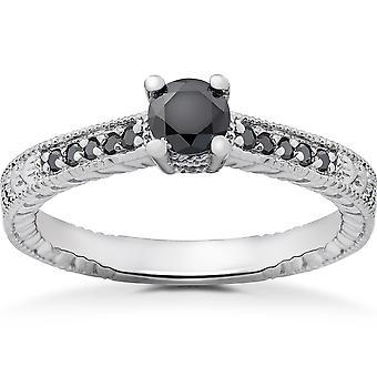 1/2 ct שחור יהלום וינטאג ' טבעת האירוסין 14k זהב לבן