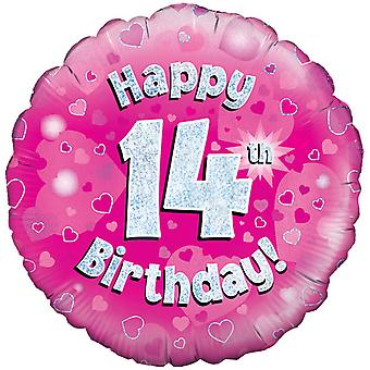 Oaktree 18 Inch Happy 14th Birthday Pink Holographic Balloon