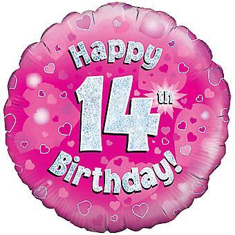 Октри 18-дюймовый счастливым четырнадцатый день рождения розовый голографической шар