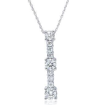 14K White Gold 1/2ct Diamond Stick Pendant Necklace