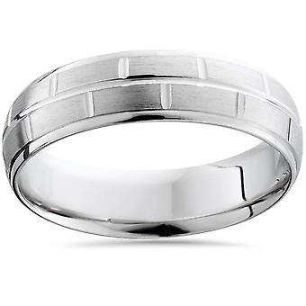 Mens Argentium Silber Comfort Fit gebürstet Hochzeitsband