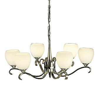 Interiors 1900 63443 Columbia 6 Light Polished Nickel Chandelier With