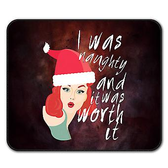 Naughty Girl Christmas  Non-Slip Mouse Mat Pad 24cm x 20cm | Wellcoda