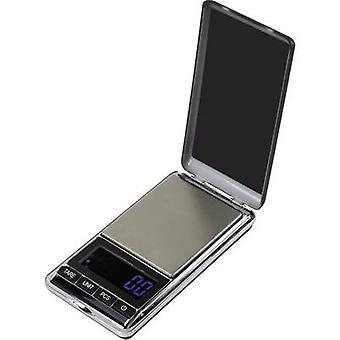 Basetech SJS-60007 Taskuvaaka painoalueen 500 g luettavuuden 0,1 g akku-käyttöinen hopea