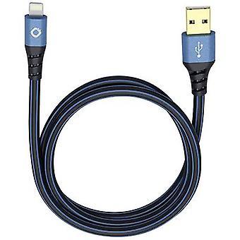 iPad/iPhone/iPod Data kabel/Charger lead [1x USB 2.0 connector A - 1x Apple Dock lightning plug] 25,00 cm Blauw, Zwarte Oehlbach USB Plus LI