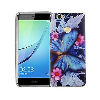 Mobile Shell for Huawei Nova cover case protective bag motif slim silicone TPU blue butterfly