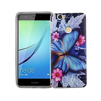 Mobile Shell para mariposa TPU azul de silicona slim de Huawei Nova tapa bolsa protectora caso motivo