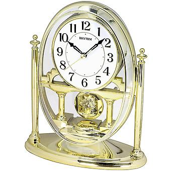 Table clock quartz desk clock with pendulum rhythm housing gold